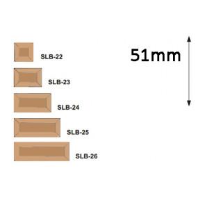 Facet  serie rechthoek 51 mm Brons
