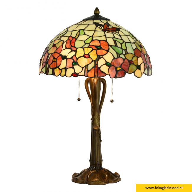 Tafellamp Tiffany bloemen 40cm