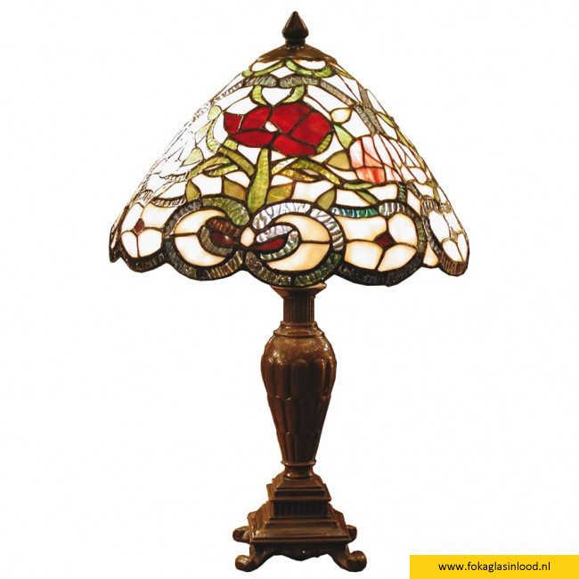 Tafellamp compleet van Tiffanyglas rose