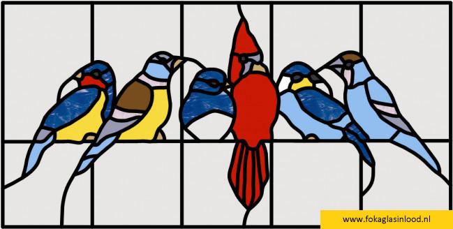 Patroon 6 vogeltjes (klein)