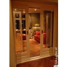 Voorbeeld glasin-looddeuren met gezandstraald glaspaneel.
