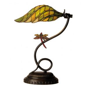 Bureaulamp groengeel met libelle