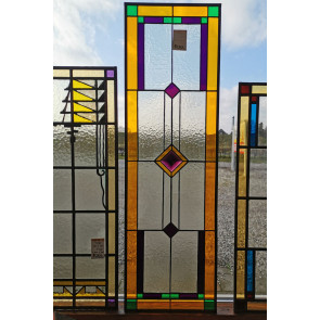 Tiffanyraam 004 | 28x92 cm Voorzetraam gekleurd met facet